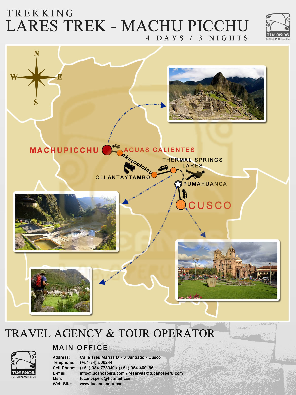 map Lares Trek to Machu Picchu 4 Days