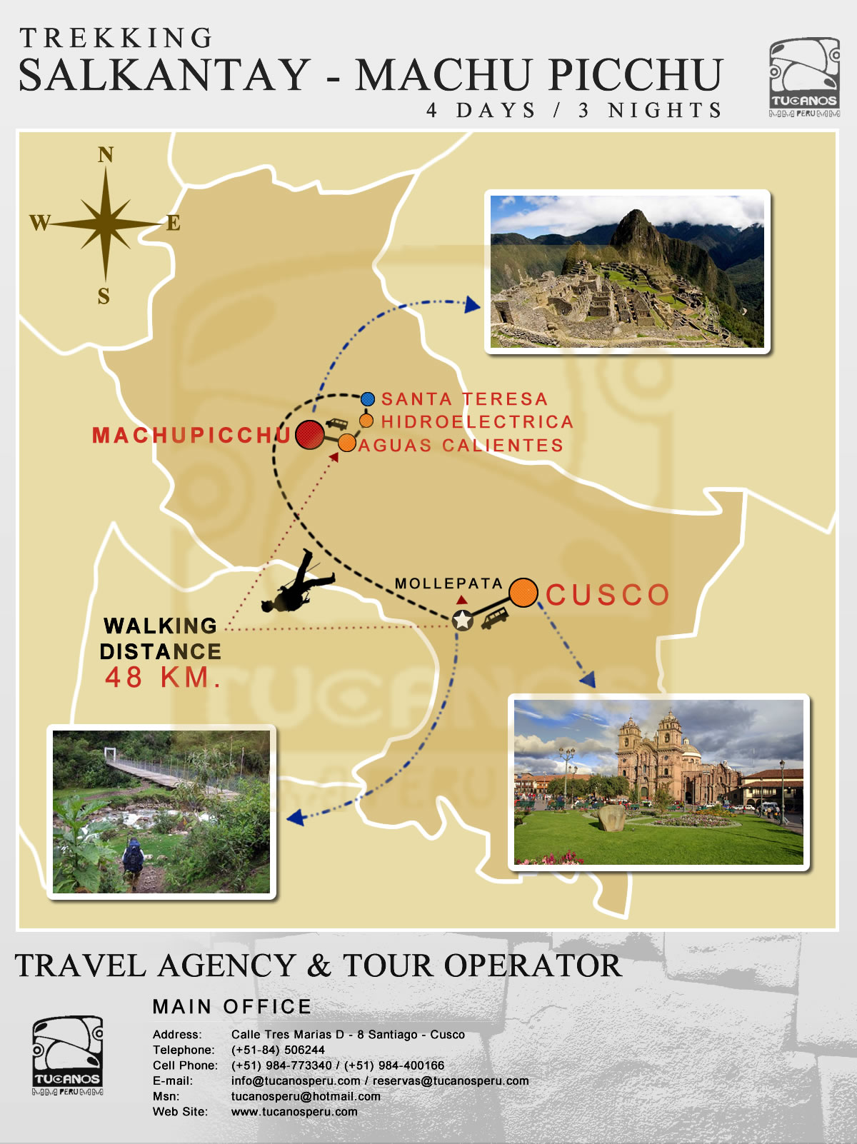 map Salkantay Trek to Machu Picchu 4 Days